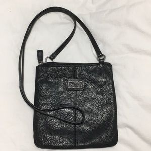 Fossil black, leather cross body bag!